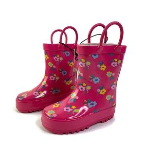 Chatties Pink Floral Toddler Girl Rain Boots 5/6